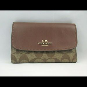 Coach Wallet Medium Envelope Khaki Saddle F32485